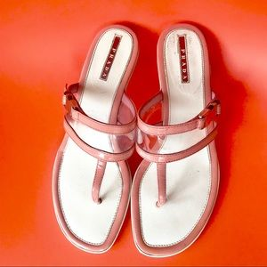 Prada Sport Dusty Rose Thongs Clear Sandals